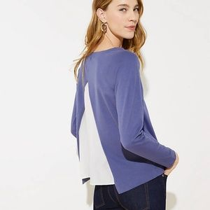 NWT LOFT Split Back Mixed Media Sweatshirt
